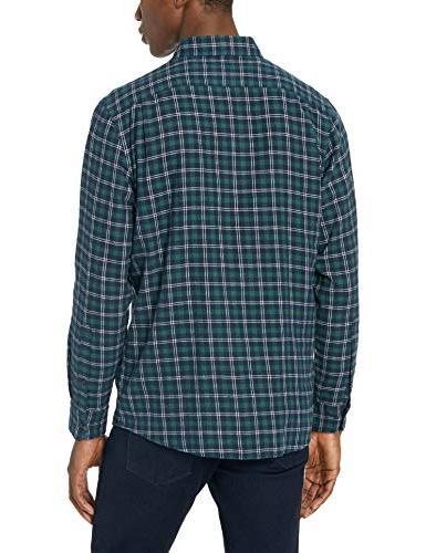 Goodthreads Men's Standard-Fit Long-Sleeve Plaid Navy XXX-Large