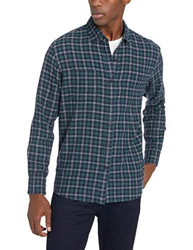 Goodthreads Men's Standard-Fit Plaid Shirt, Navy Green,