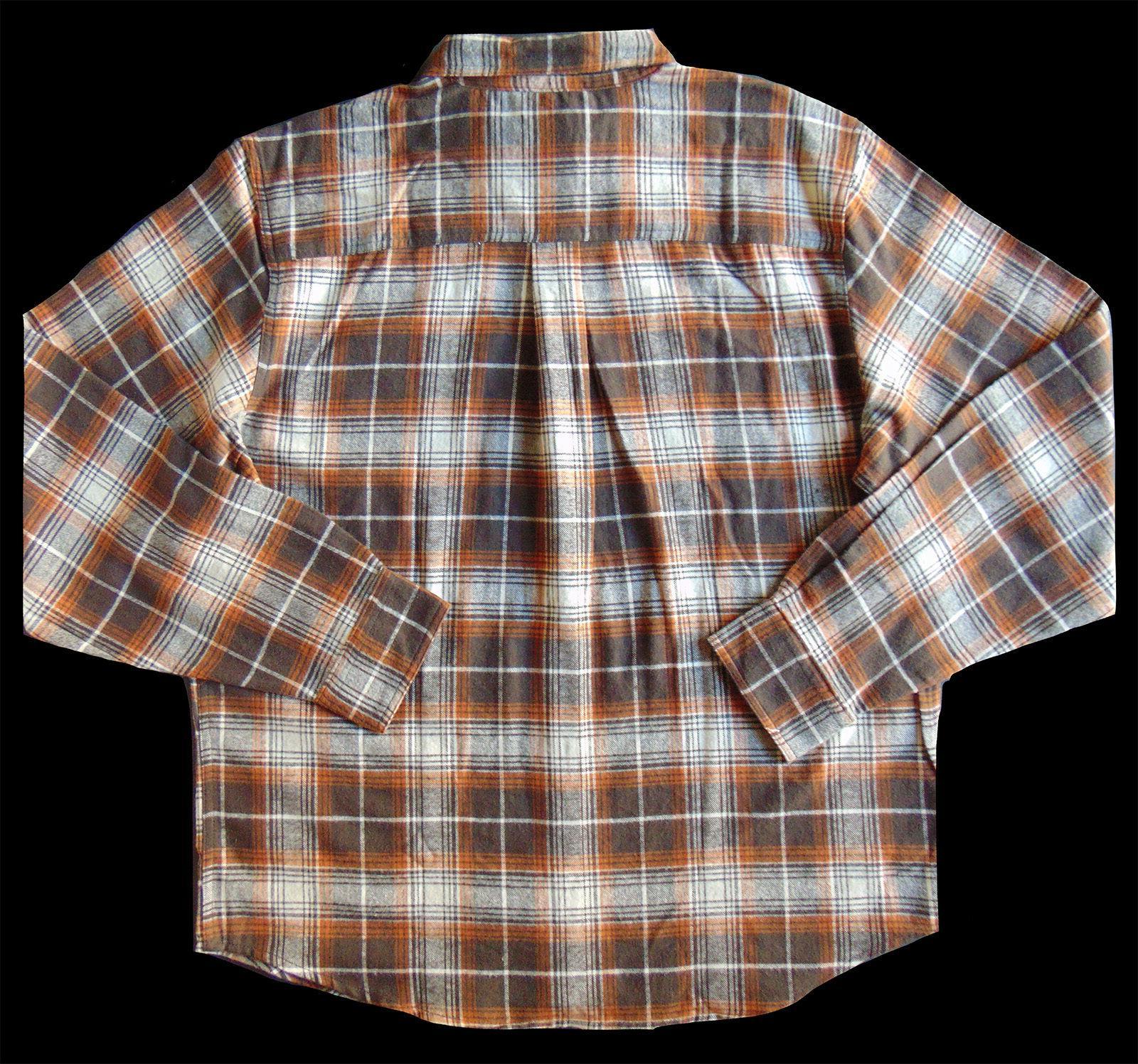 Men's TALL PINES Brown Cream Plaid Flannel NWT