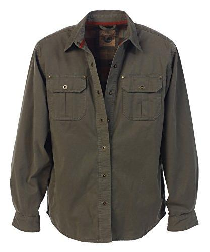 men s twill shirt jacket with flannel