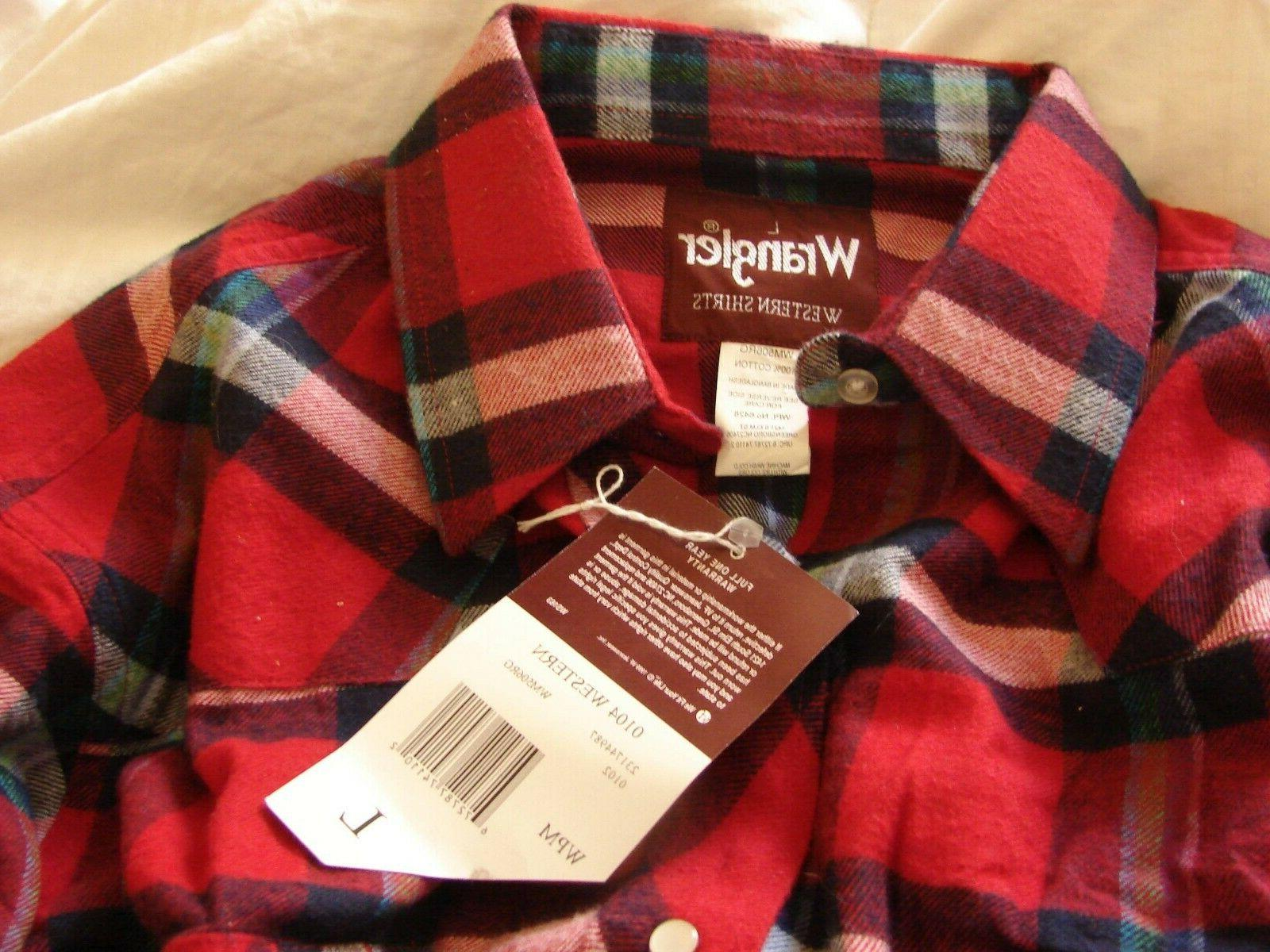 MEN'S WESTERN SHIRTS SNAPS FLANNEL LARGE NEW
