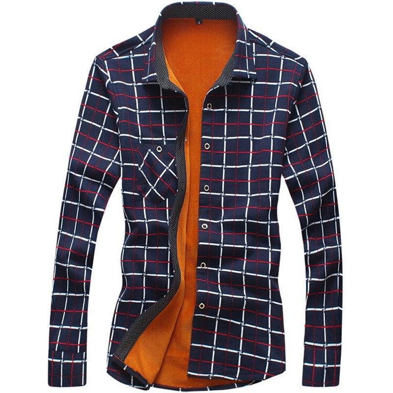Loldeal Men's Sleeve Plaid Lined Thick fleece long <font><b>shirt</b></font> men <font><b>shirts</b></font>