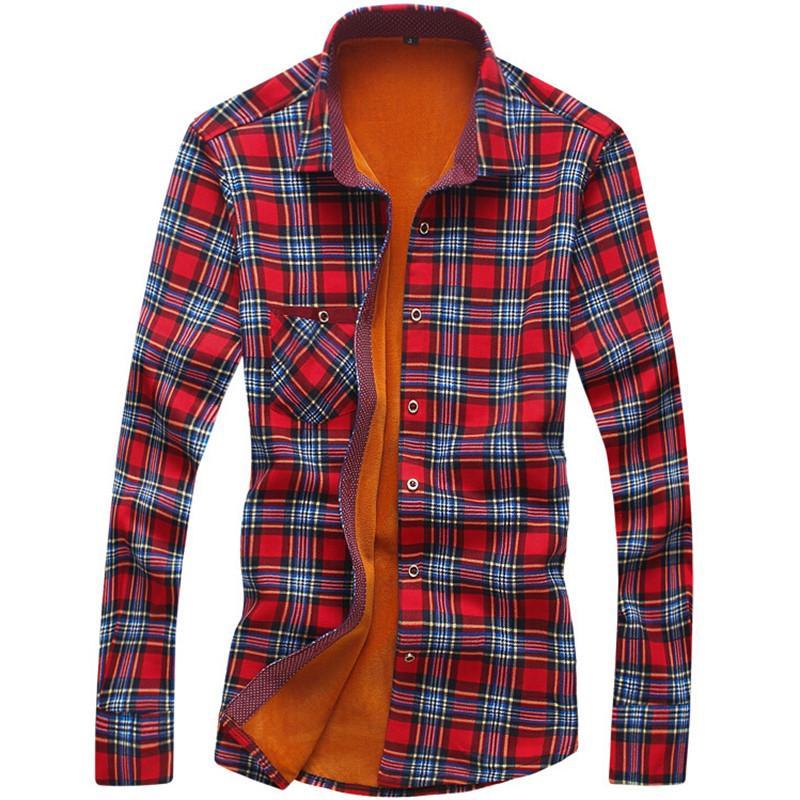 Loldeal Sleeve Plaid Lined Thick <font><b>Work</b></font> fleece warm sleeve <font><b>shirt</b></font> for dress