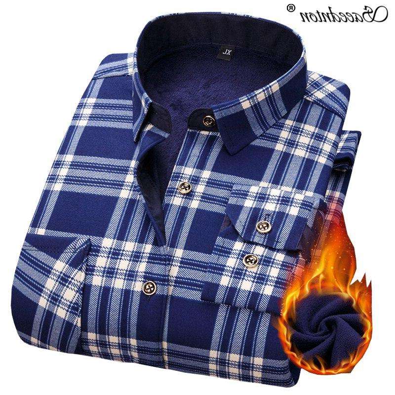 Men Winter Sleeve Cotton Business <font><b>Shirts</b></font> Velvet Warm Social