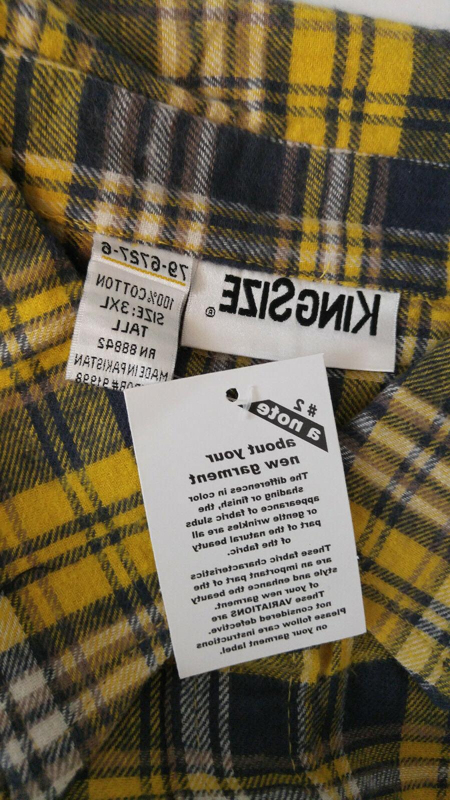 KING Tall Cotton Flannel Yellow Green Sleeves