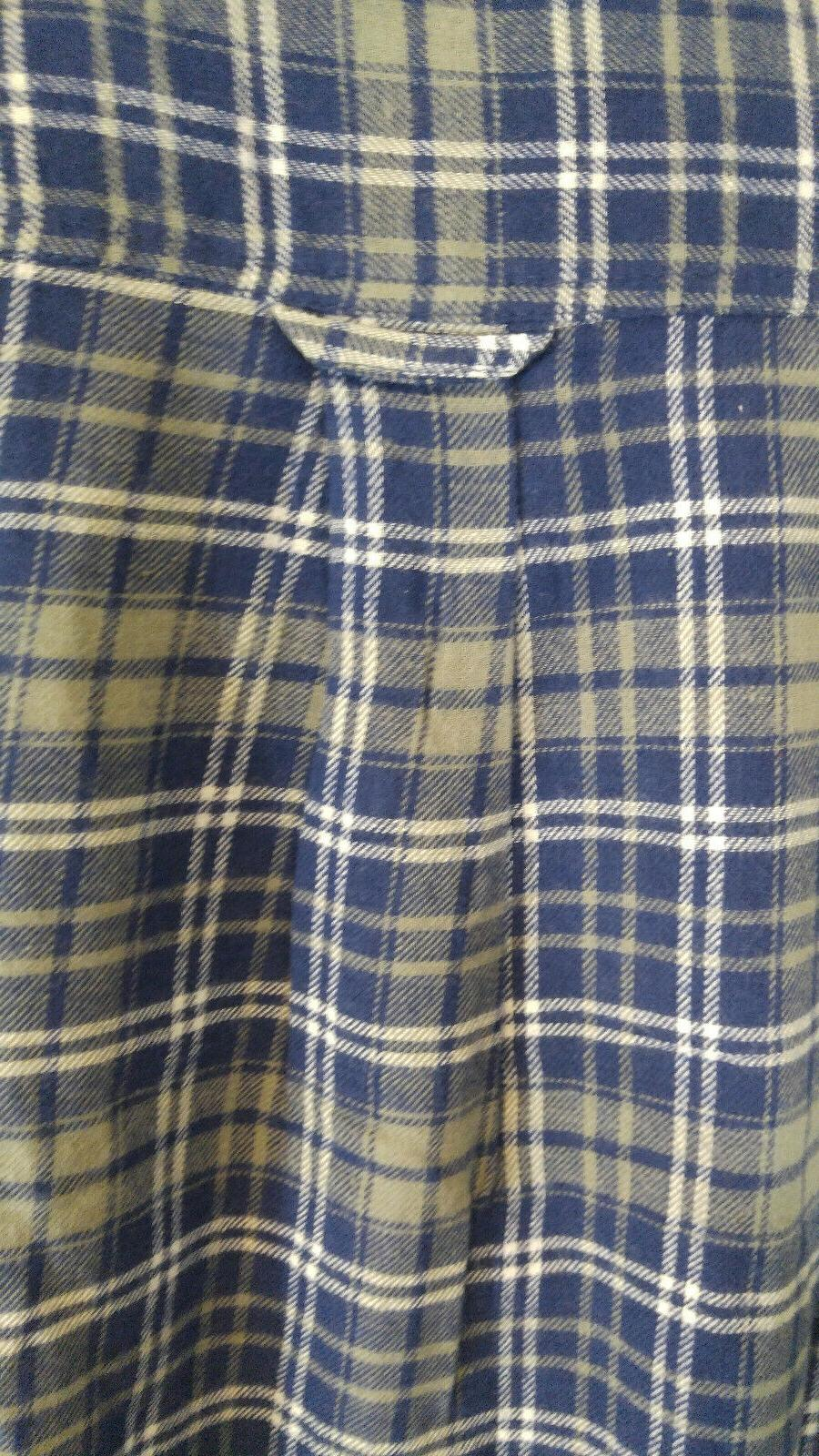 King Size Tall Sleeve Flannel Shirt Blue Gray