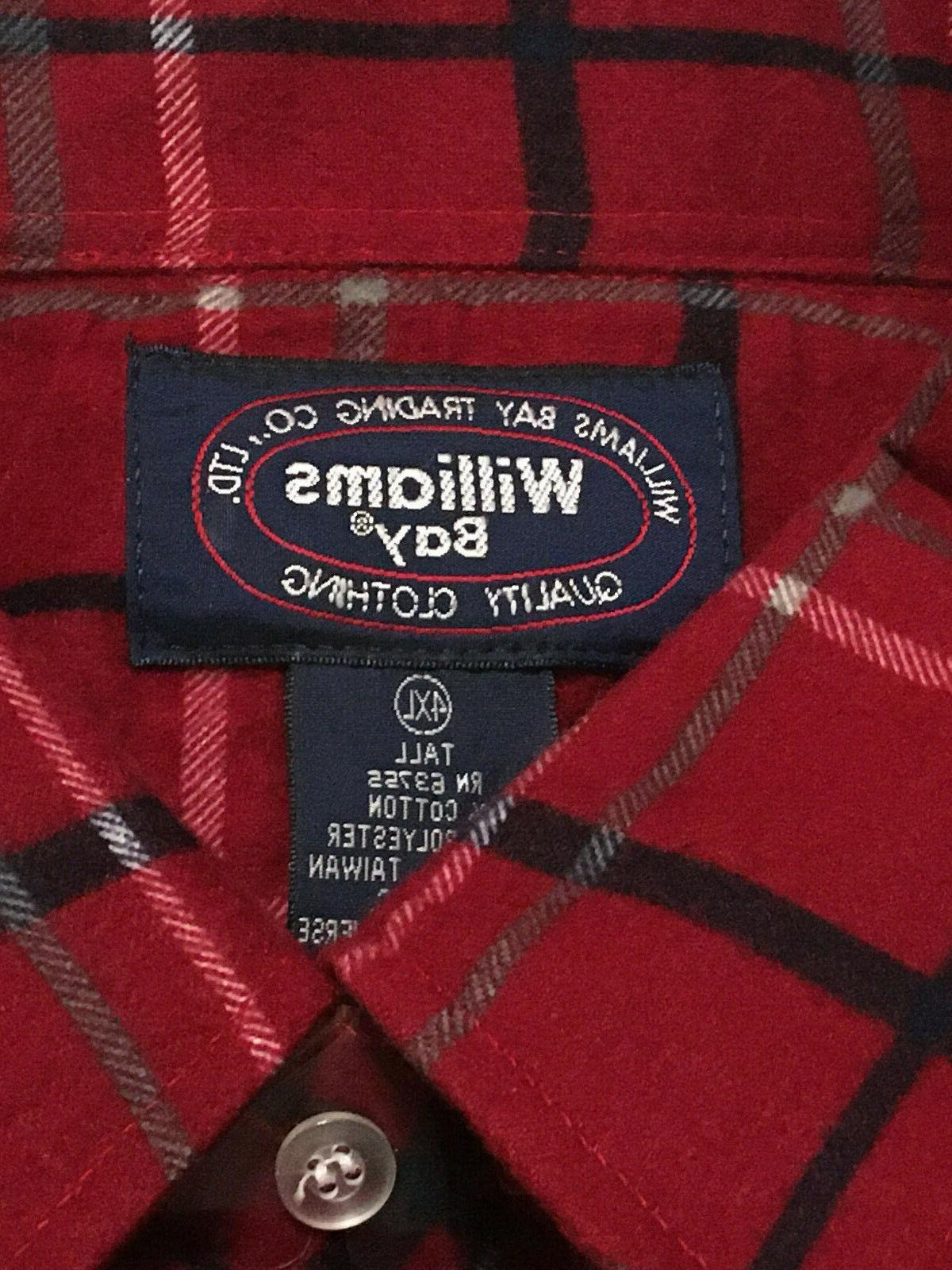 Mens 4XL WILLIAMS BAY Thick Flannel Shirt Plaid Brand New