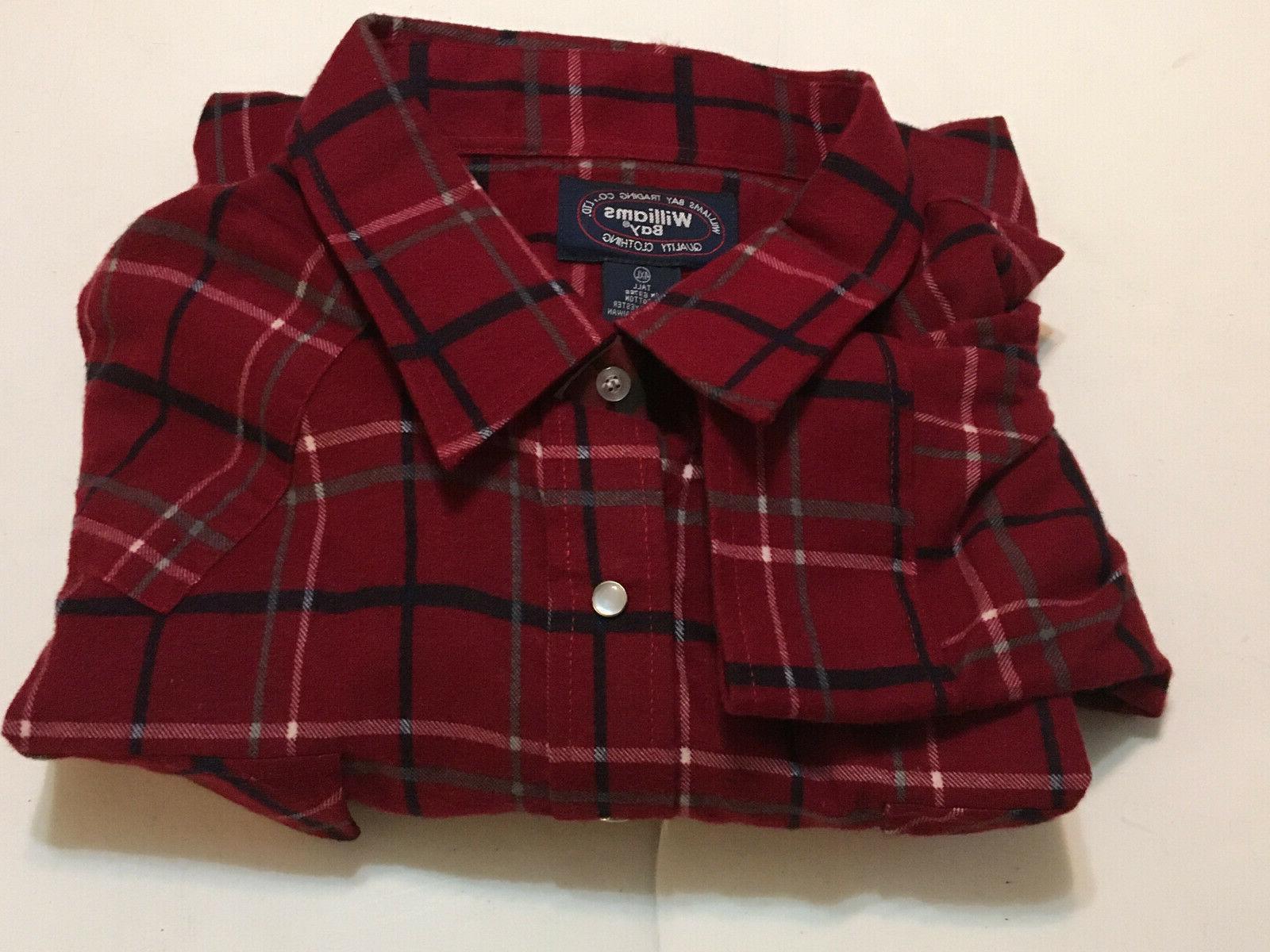 mens 4xl thick flannel shirt red plaid