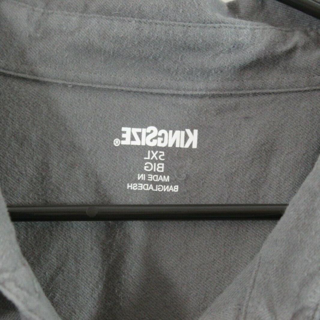 KING SIZE Mens 5XL Long Dark Grey Flannel Button Shirt XXXXXL