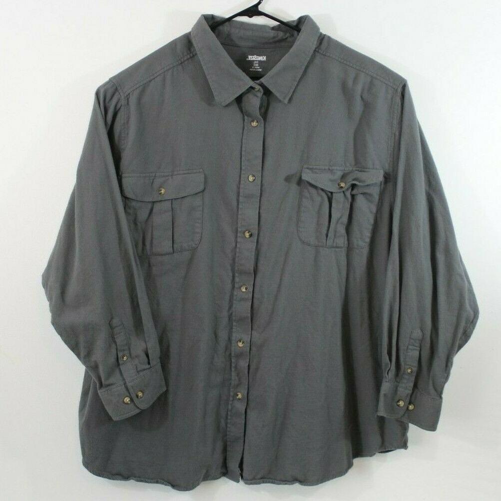 mens 5xl long sleeve dark grey flannel