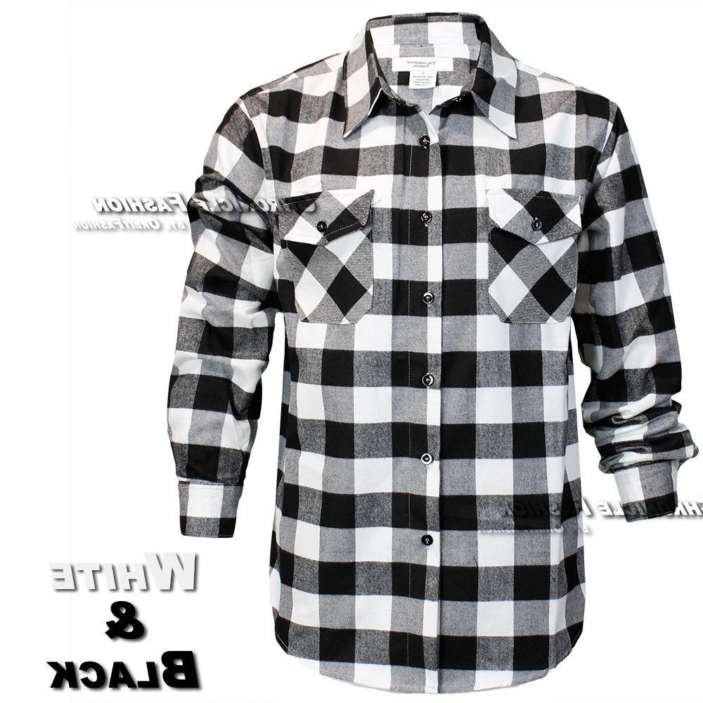 Mens Flannel Shirt Casual Long Sleeves Button Front