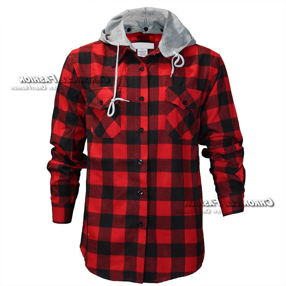 Mens Flannel Long Sleeves Button Front Check