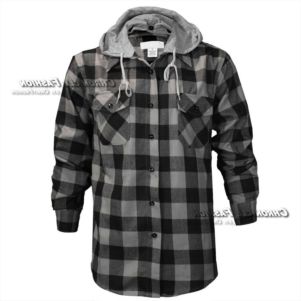Mens Buffalo Flannel Shirt Long Button Front