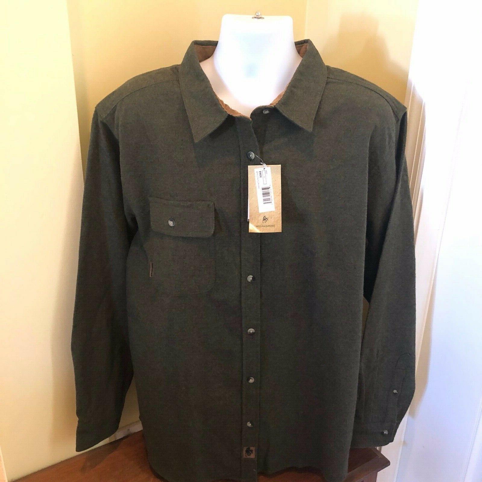 mens buck camp flannel shirt army 2xl