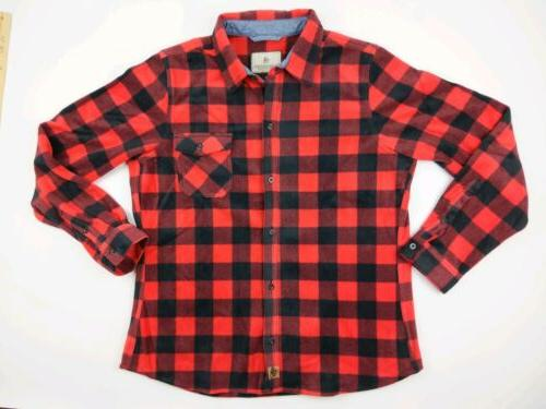 mens buck camp flannel shirt red