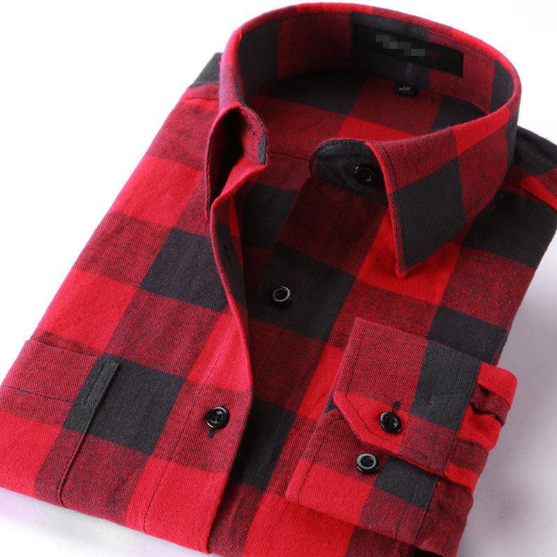 Mens Long Button Down Casual Plaid Cotton Slim Shirt