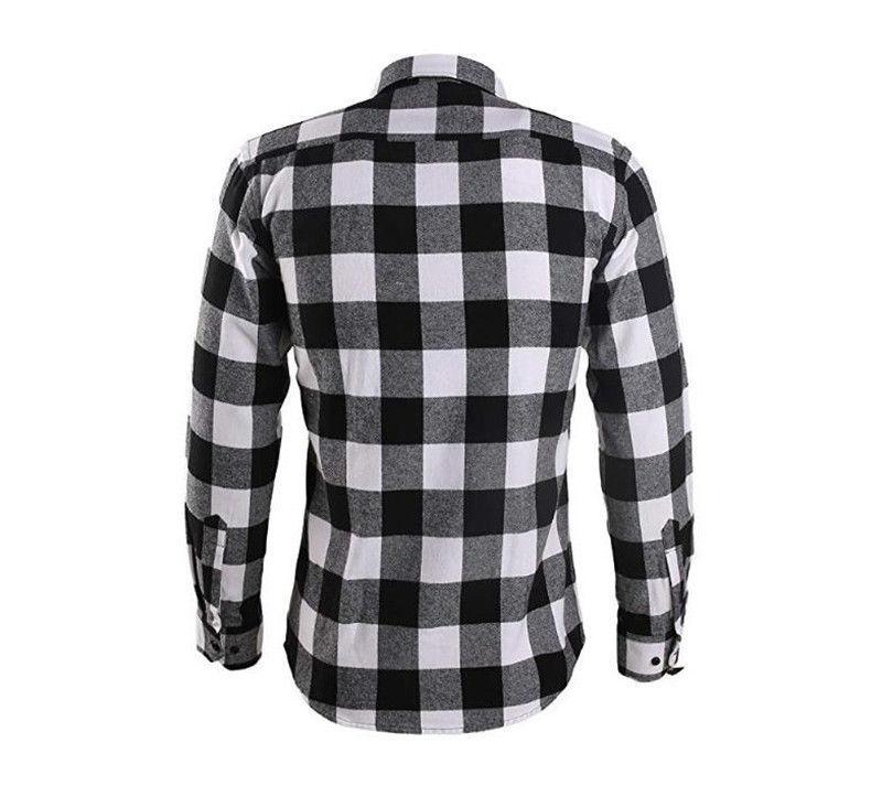 Mens Long Button Down Casual Plaid Cotton Shirt