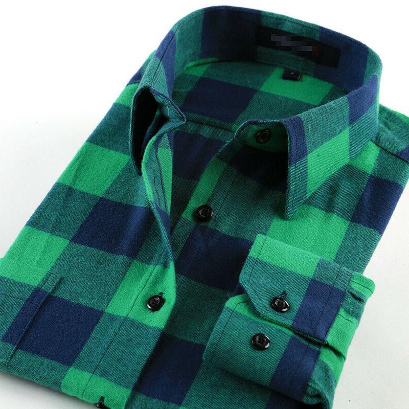 mens button down shirts casual plaid cotton