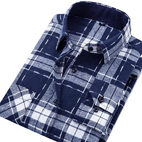 mens casual checkered plaid flannel long sleeve