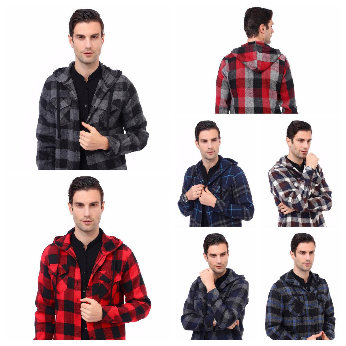 Mens Flannel Hooded Buffalo Plaid Flannel Shirt Long Sleeves Fleece Button