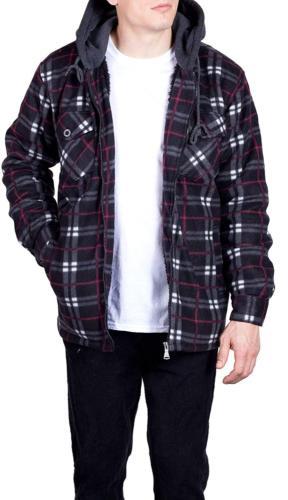 Mens Flannel Hoodie for Men Zip Fleece Lined Shirt 4X