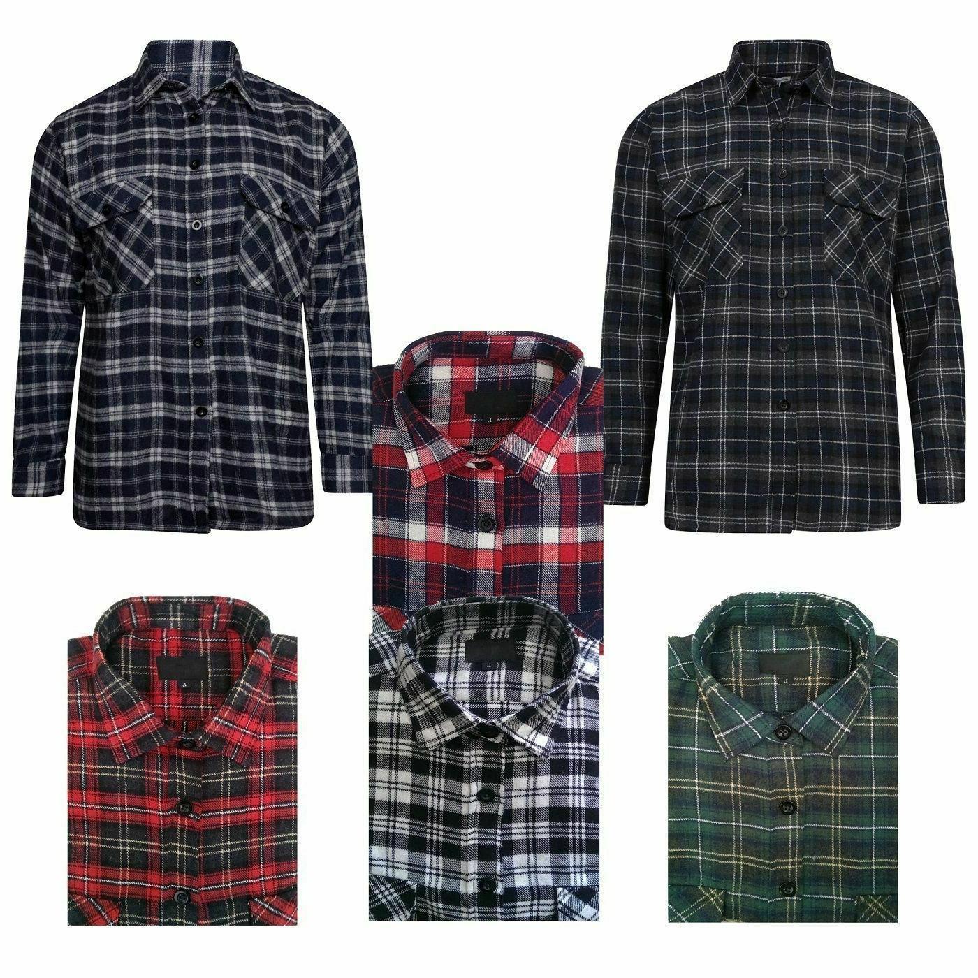 mens flannel lumberjack check shirt cotton work