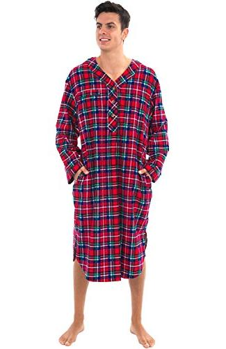 mens flannel nightshirt 100 percent cotton long