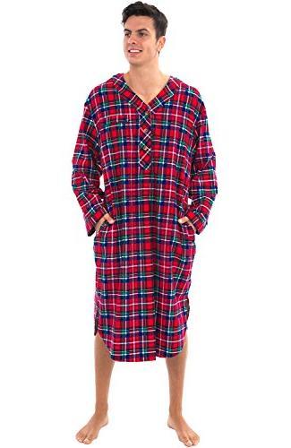 mens flannel nightshirt 100 percent cotton long