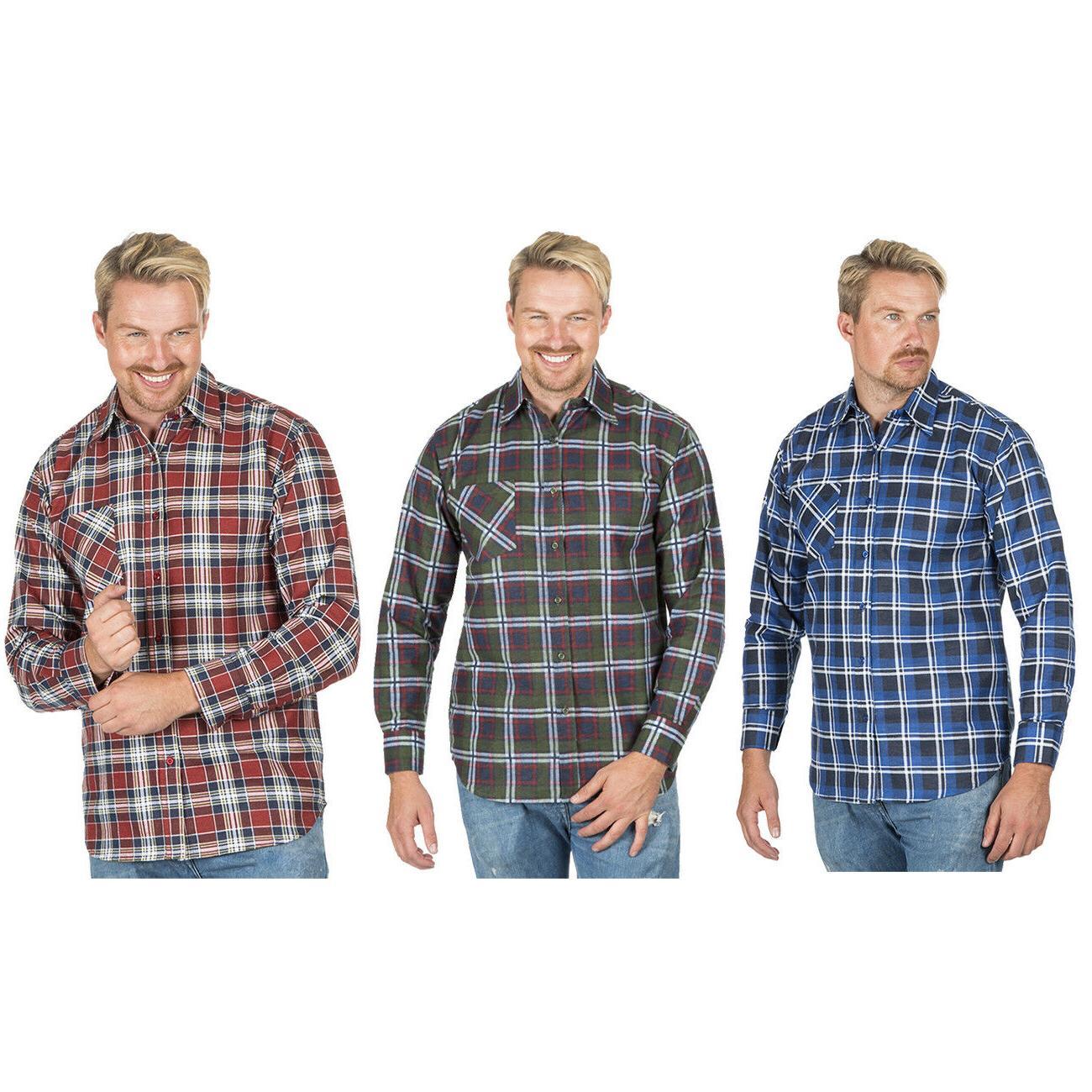 Warm Work Shirts Check Long
