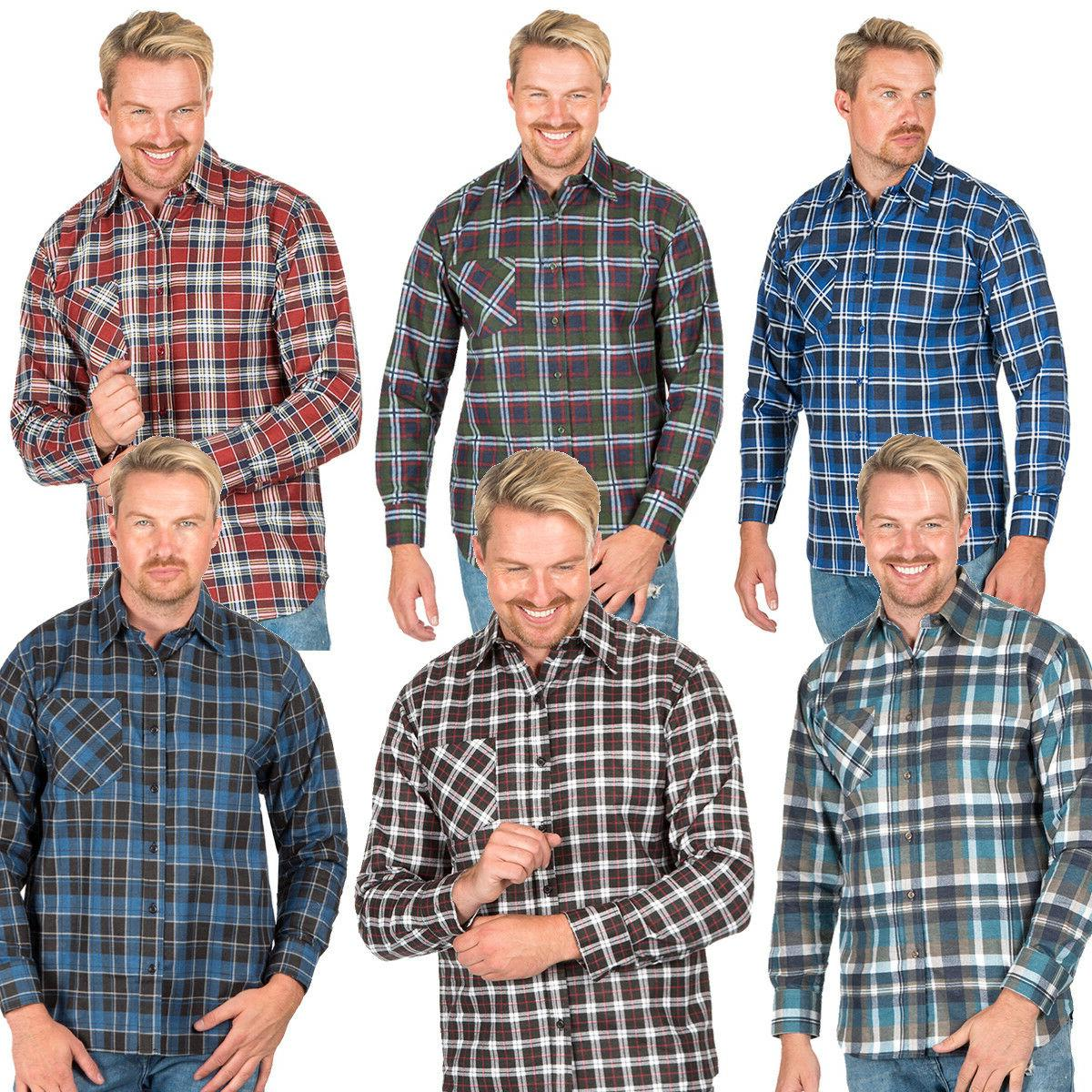 mens flannel shirt brushed warm work casual