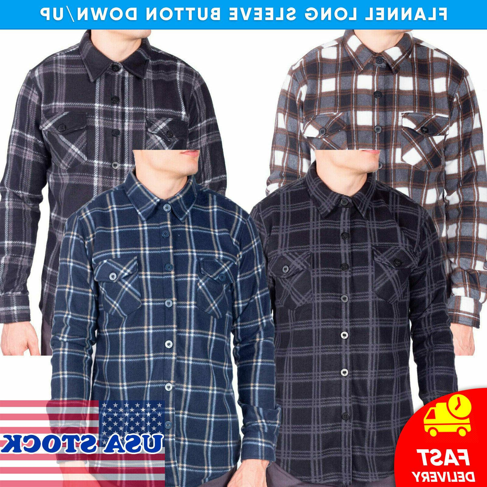 mens flannel shirt long sleeve button down