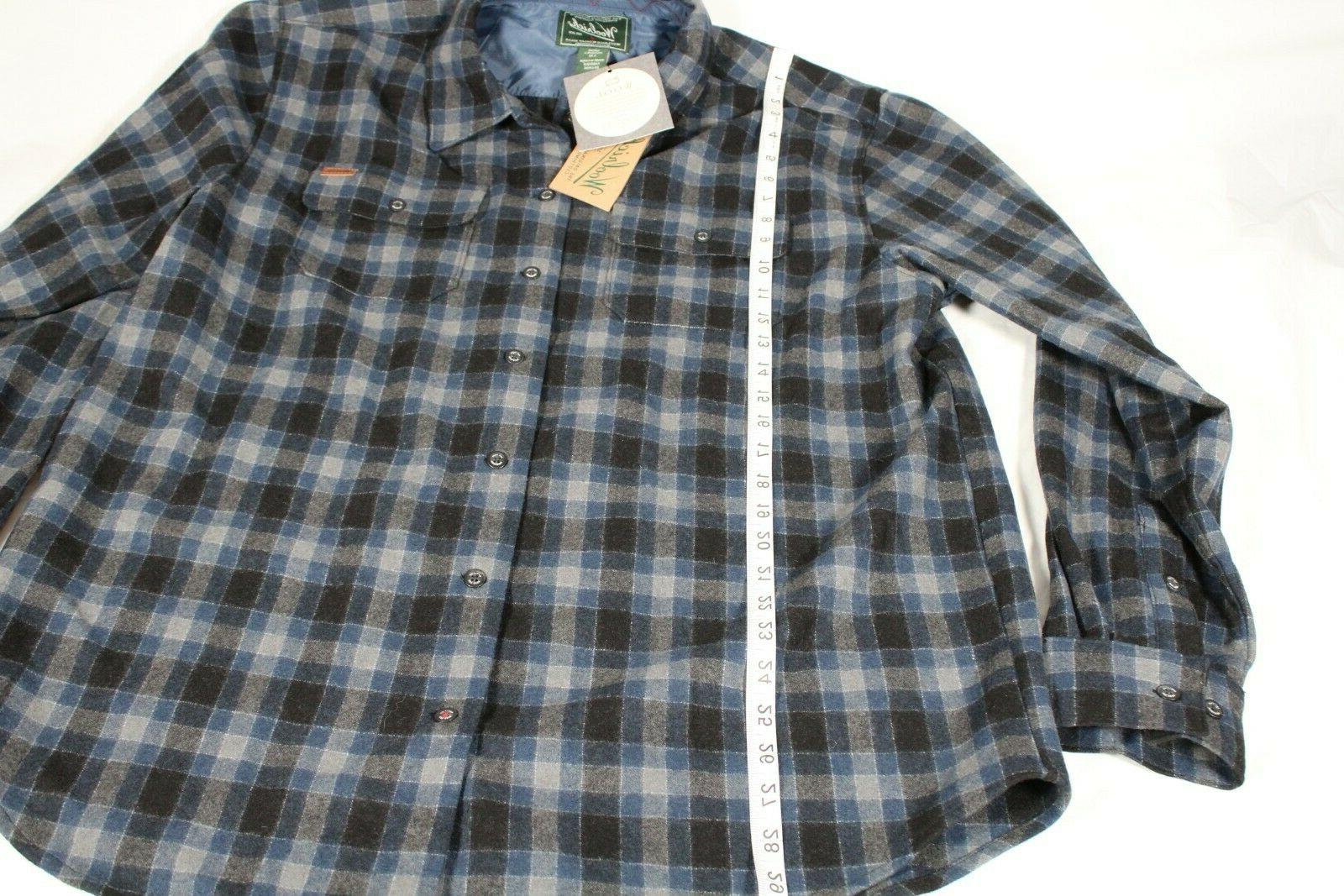 Woolrich Flannel Plaid L Sleeves Gray Blue
