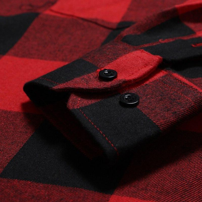 Mens <font><b>Flannel</b></font> Camisa Masculina 2018 Autumn Sleeve <font><b>Shirt</b></font> <font><b>Work</b></font> Business Casual Pocket