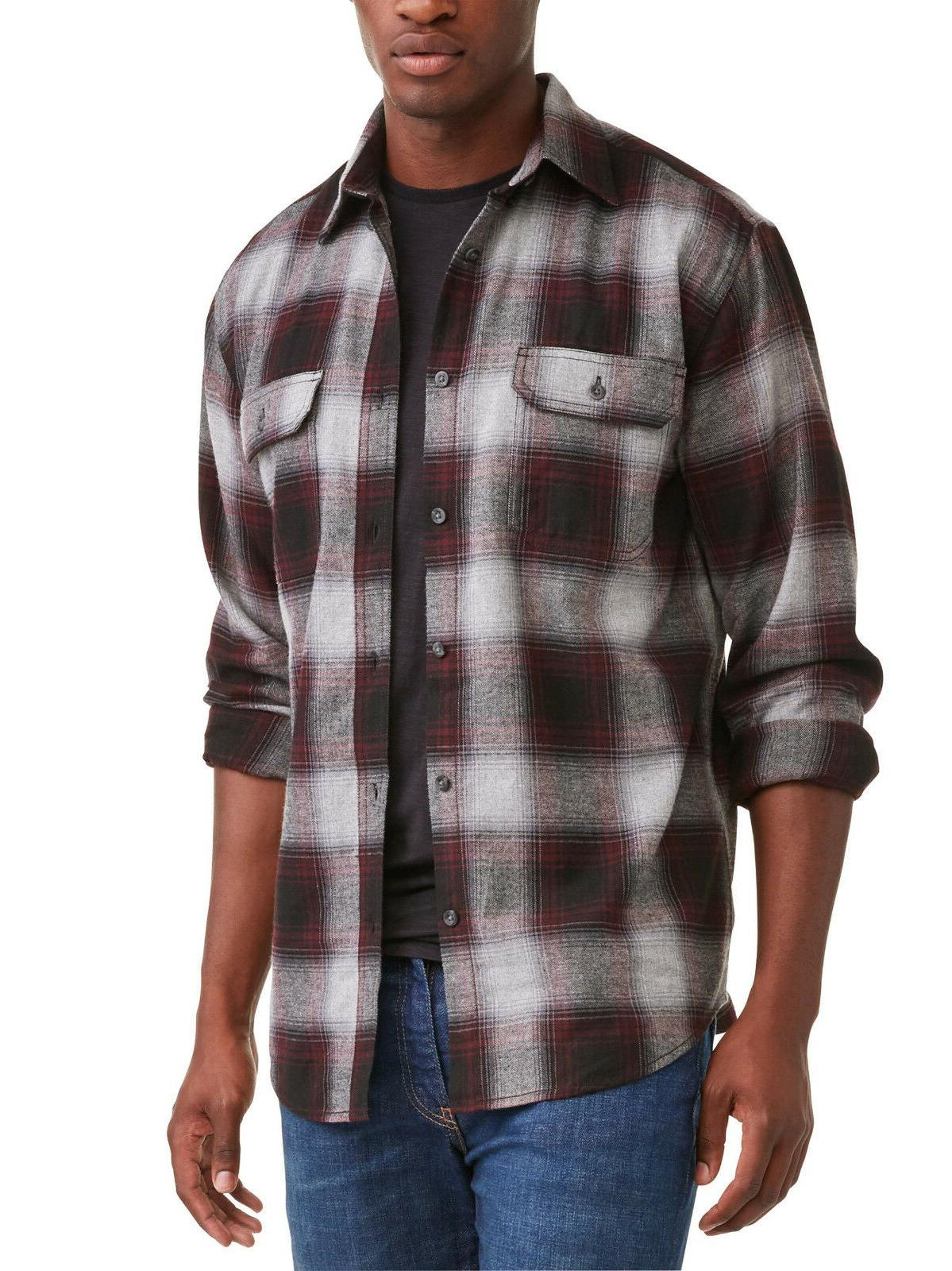 mens large long sleeve burgundy combo flannel
