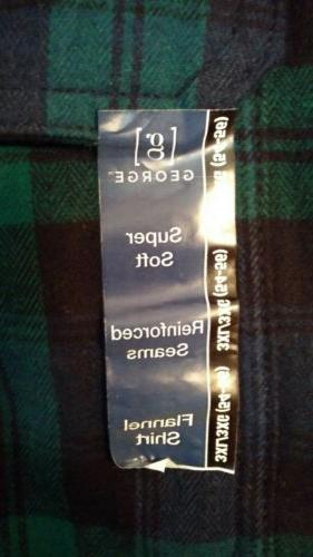 Mens Long Button Down Black Tartan Shirt 3XL