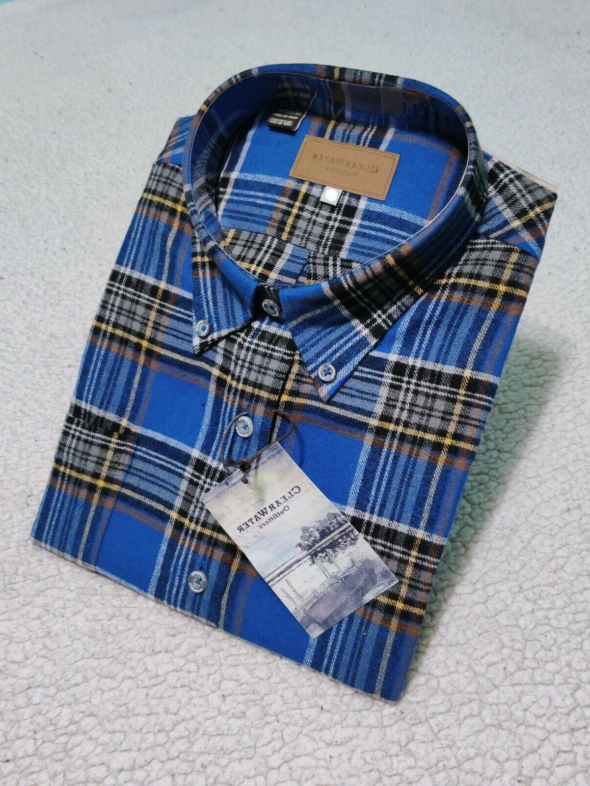 Mens Sleeve Up Flannel Soft Cotton Shirts Men's 2XL