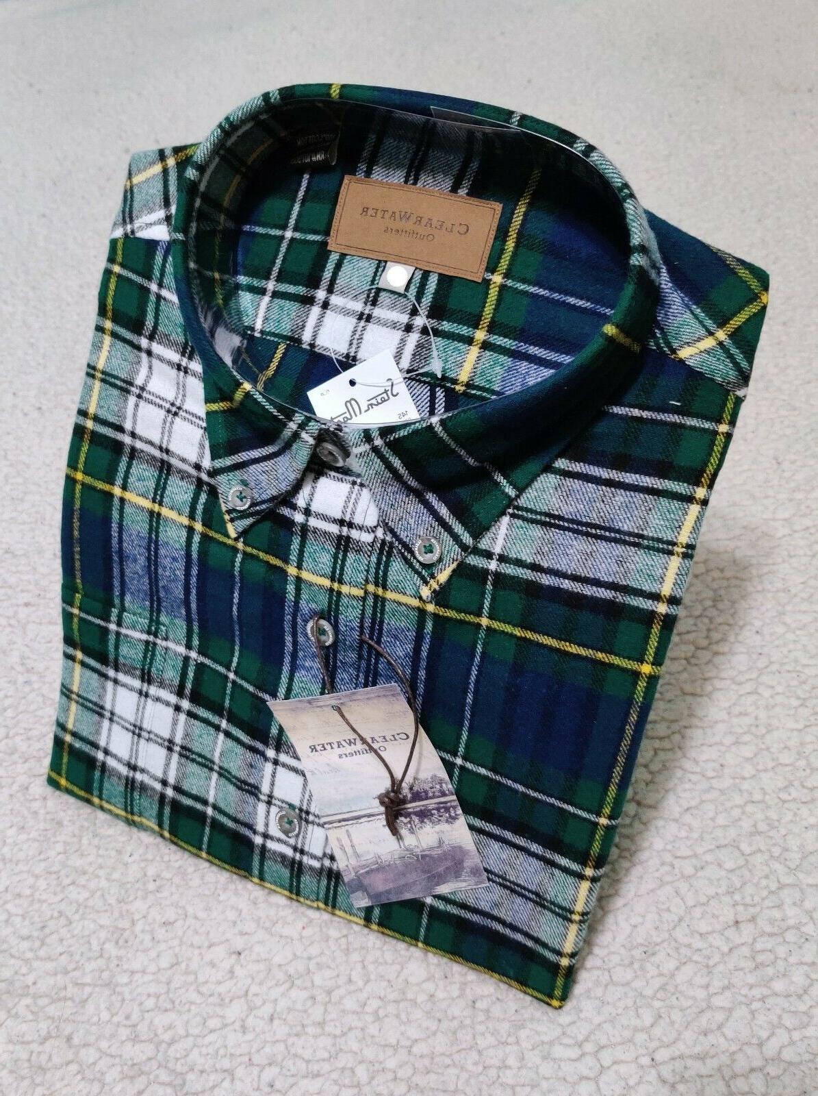 Mens Long Sleeve Up Flannel | Soft Cotton Men's M L 2XL