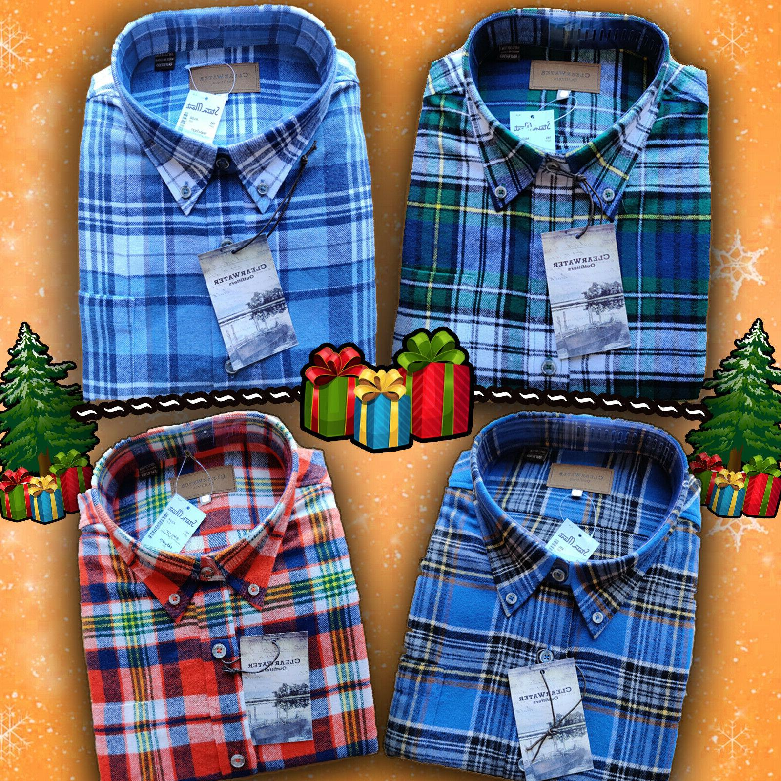 mens long sleeve button up plaid flannel