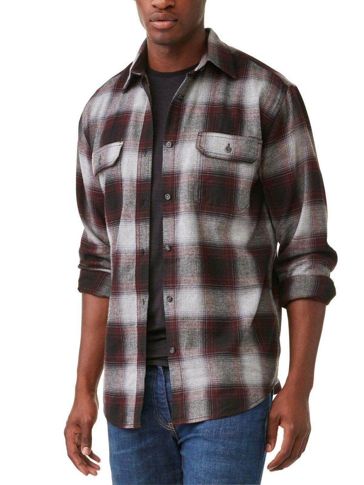 mens long sleeve flannel shirt gray maroon