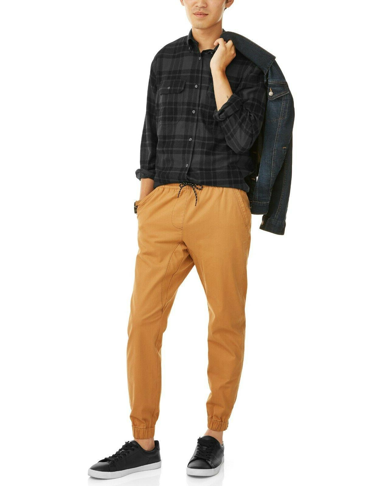 George Mens Sleeve Flannel Shirt Black