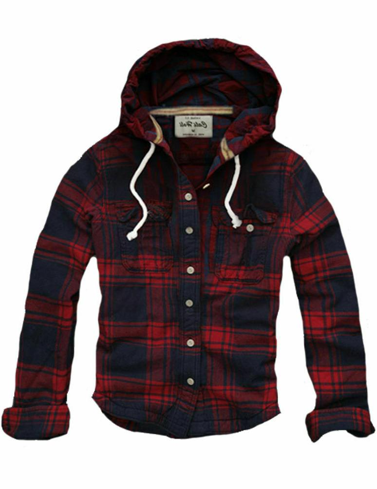 mens muscle fit check hoodie shirt flannel