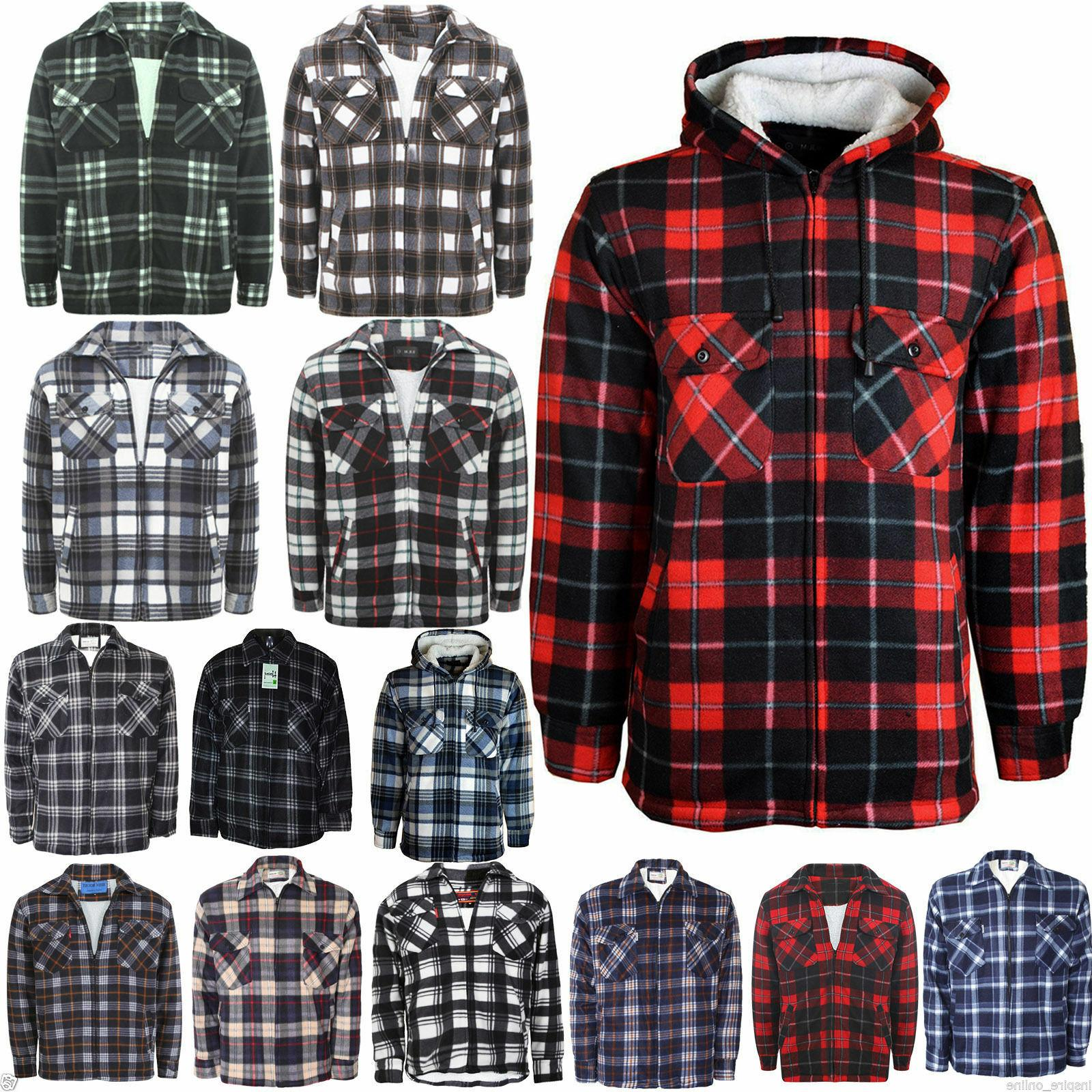 mens padded shirt fur lined lumberjack flannel