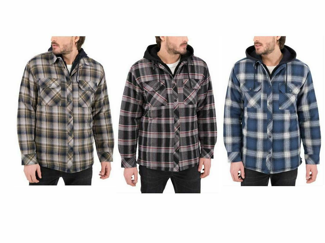 mens quilted lining flannel shirt jacket