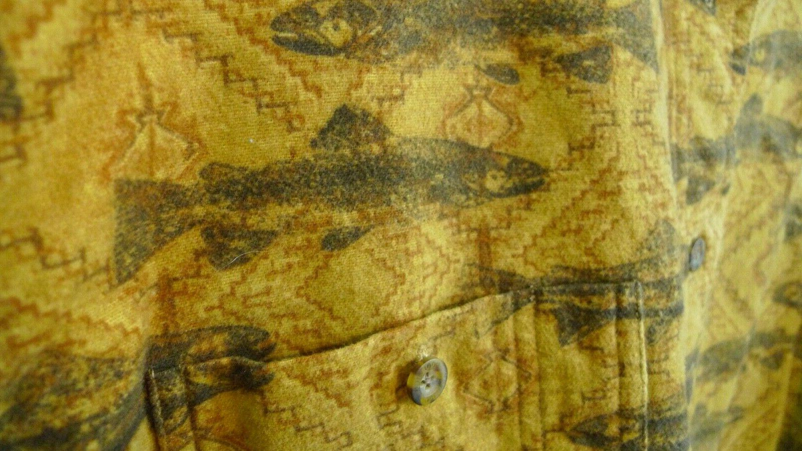 Woolrich Down Buckskin Flannel Trout Sz L