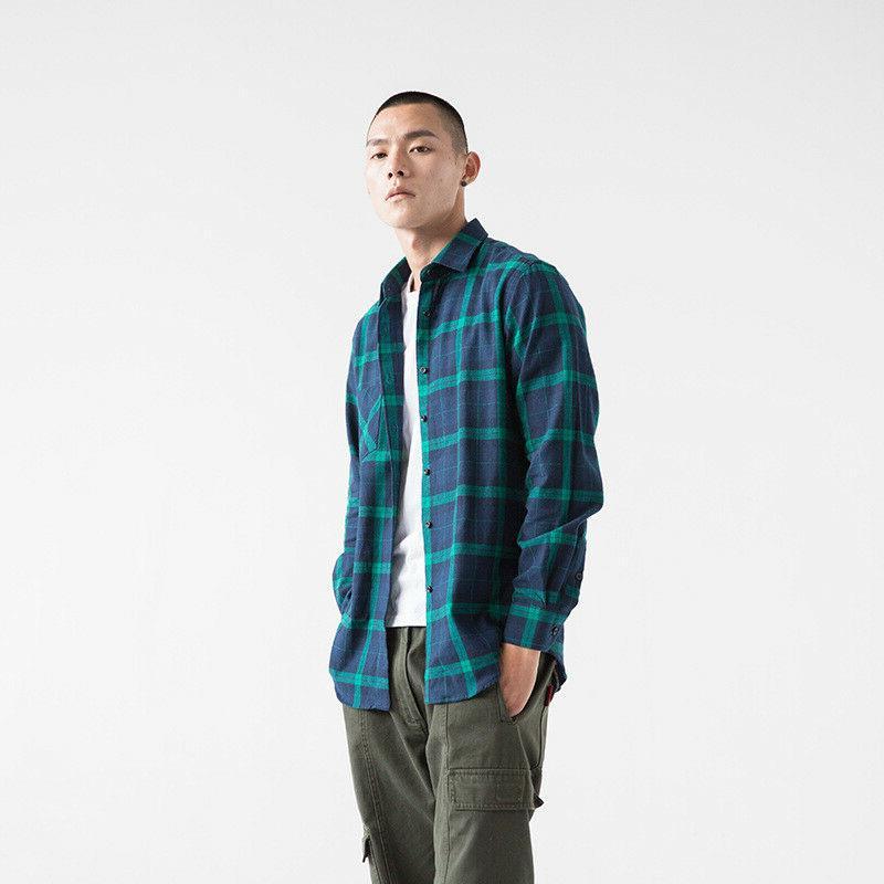 Cotton Sleeve Flannel Green Check Smart Work
