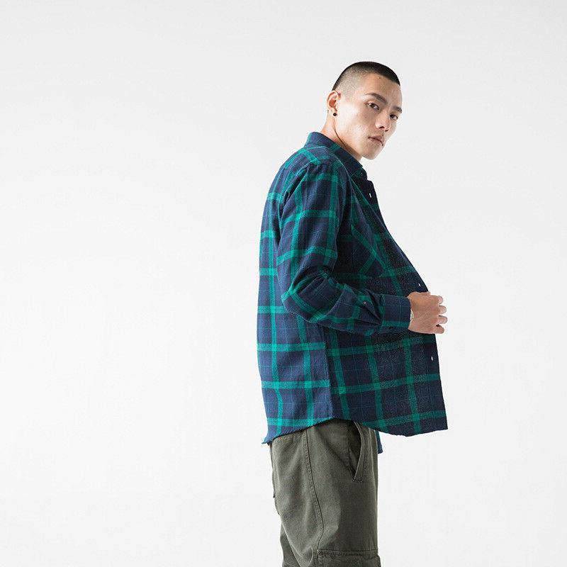 Mens Casual Cotton Green shirt