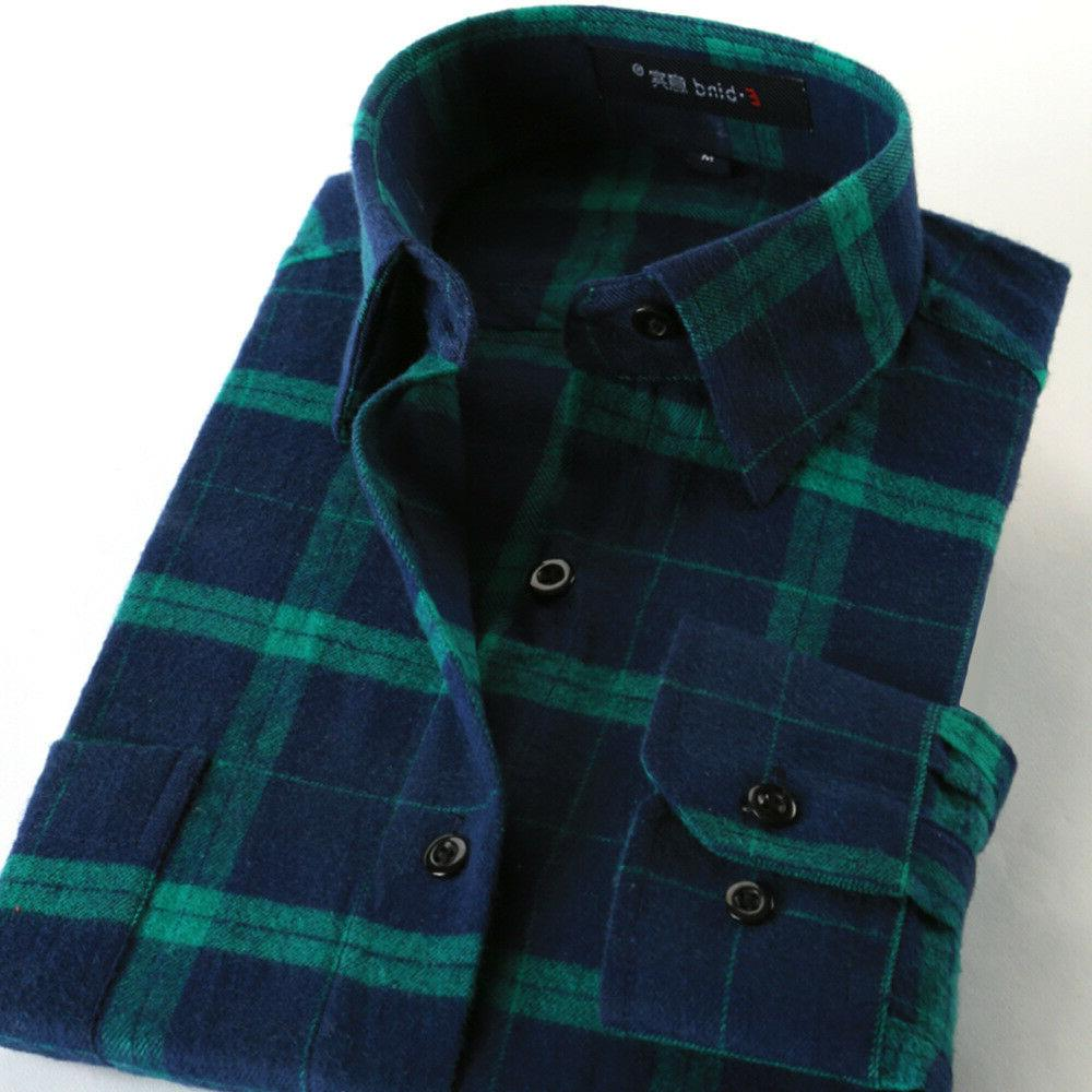 mens shirts plaid casual cotton long sleeve