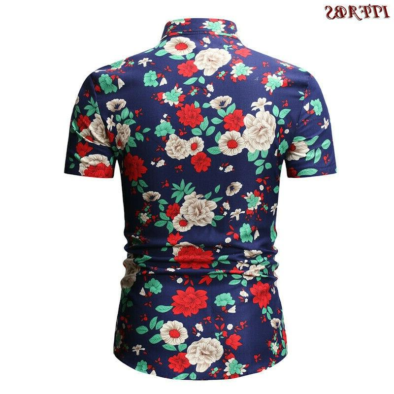 Mens Sleeve Casual Check Print Cotton Tops