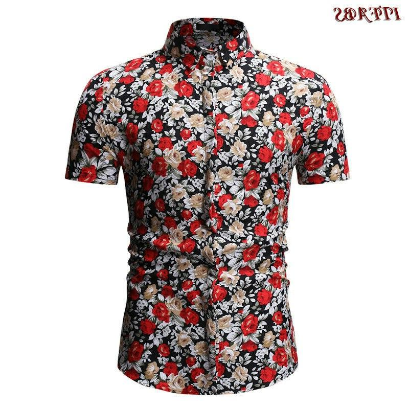 Mens Short Casual Luxury Check Print Cotton Plaid Tops