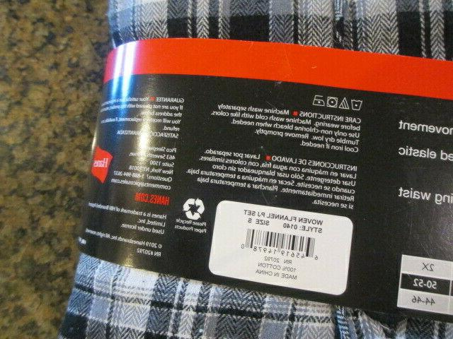 Hanes Small Flannel Pajama Long Plaid Gray Pants NWT